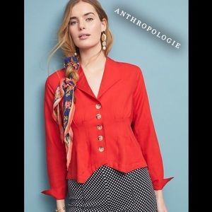 Anthropologie Persimmon Red Tailored Look Top